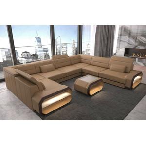 Wohnlandschaft Leder Sofa U Form Couch Verona U Eckcouch Schlaffunktion Ottomane