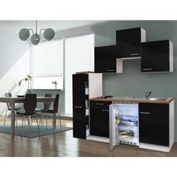Respekta Küchenzeile KB180WS 180 cm Schwarz-Weiß