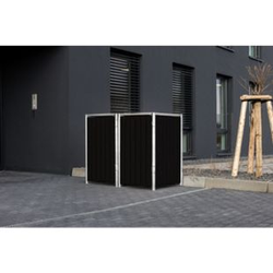 Hide Mülltonnenbox 240l Kunststoff, 2er Box, schwarz