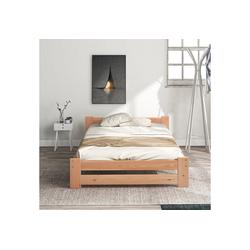 Merax Massivholzbett, Futonbett, mit Kopfteil und Lattenrost, Einzelbett 94 cm x 205 cm x 49 cm