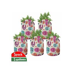 Abakuhaus Pflanzkübel hochleistungsfähig Stofftöpfe mit Griffen für Pflanzen, Zuckerschädel Herz-Flora 28 cm x 28 cm