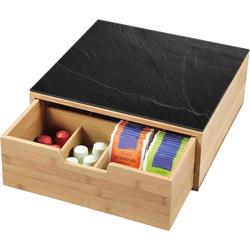 KESPER for kitchen & home Aufbewahrungsbox, Bambus, Glas, (1-tlg), für Kaffeekapseln oder Teebeutel