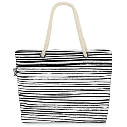 VOID Strandtasche (1-tlg), Schwarz Weiss Streifen Beach Bag Zebra Streifen gestreift Zebrastreifen Linien