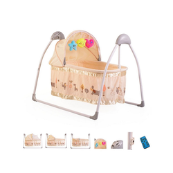 Moni Babywippe Babywiege Accent, elektrisch, Remote, Musik, Timer, Spielbogen, Insektenschutz natur