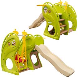Kinderrutsche mit Schaukel - 180 x 110 x 120 cm Kunststoff Rutsche grün