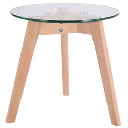 CLP Beistelltisch Motala, Telefontisch mit Glas Tischplatte und Buchenholzgestell