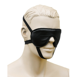 Bondag Leder Augenmaske Augenbinde mit 3 Gummizügen schwarz