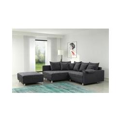 Modernes Sofa Couch Ecksofa Eckcouch in schwarz Eckcouch mit Hocker - Minsk L