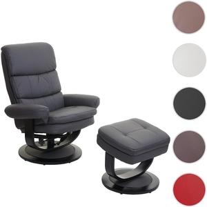 Relaxsessel HWC-C16, Fernsehsessel TV-Sessel Hocker mit Staufach ~ Kunstleder mattgrau