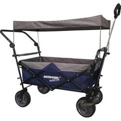 Outdoor active Bollerwagen blau/grau mit Dach und Schubstange 0071301508