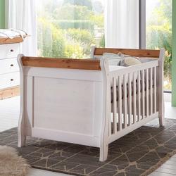 Landhausstil Babybett in Weiß Kiefer massiv umbaubar