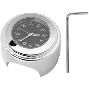 Motorrad Uhr, 22-25mm Universal Aluminium Motorrad Lenker Uhr Metallhalterung Handgriff Bar Dial Uhr(Schwarzes Zifferblatt)