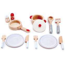Hape Spielgeschirr Koch- & Servierset, 13-tlg., (Set, 13 tlg.), aus Holz bunt Kinder Ab 3-5 Jahren Altersempfehlung