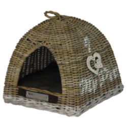 Rattan Tippi Zelt für Katzen Katzenhöhle, 42 x 42 x 46