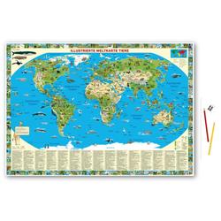 Illustrierte Weltkarte Tiere