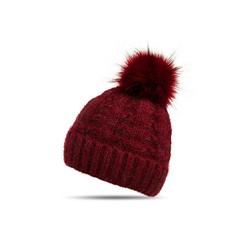 Caspar Bommelmütze MU144 Damen warme Winter Strick Mütze mit Fellbommel rot