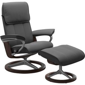 Stressless® Relaxsessel Admiral (Set, Relaxsessel mit Hocker), mit Hocker, mit Signature Base, Größe M & L, Gestell Wenge grau 93 cm x 113 cm x 79 cm