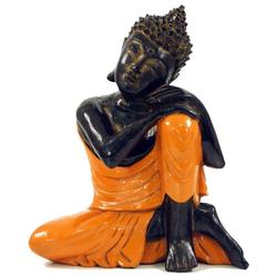 Guru-Shop Buddhafigur Geschnitzte sitzender Buddha Figur, träumender..
