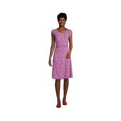 Jersey-Wickelkleid, Damen, Größe: L Normal, Pink, by Lands' End, Leuchtend Magenta Sonnenschirm - L - Leuchtend Magenta Sonnenschirm
