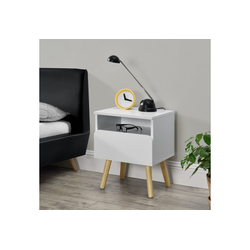 en.casa Nachttisch, Stylischer Beistelltisch Dargaville mit Schublade - 40 x 34 x 50cm - Weiß