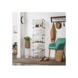 SONGMICS Schuhregal LPC503W, Schuhregal mit 10 Fächern, Schuhschrank, Kunststoff, 43 x 31 x 153 cm, weiß