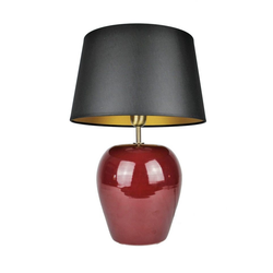 Signature Home Collection Nachttischlampe, Keramiklampe Nachttischlampe rot mit Lampenschirm rot