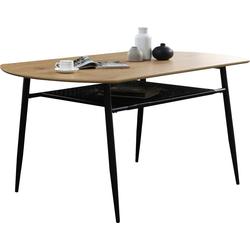 SalesFever Esstisch, Ablagefläche aus Metall und Polyrattan 140 cm x 76 cm x 90 cm