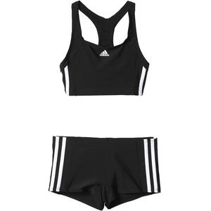 adidas Mädchen Infinitex Essence Core 3-Stripes Bikini, Black/White, 116