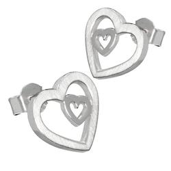 Vinani Paar Creolen, Vinani Ohrstecker Herz in Herz Sterling Silber 925 Ohrringe OHH