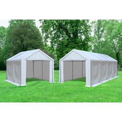 3x8 m 2in1 Kombizelt mit extra 3x4 m Dach, PVC weiß
