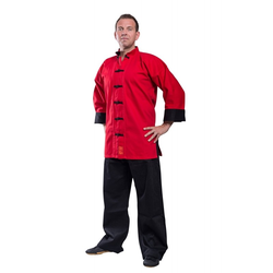 Kung Fu Jacke SHAOLIN II rot (Größe: 160, Farbe: Rot)