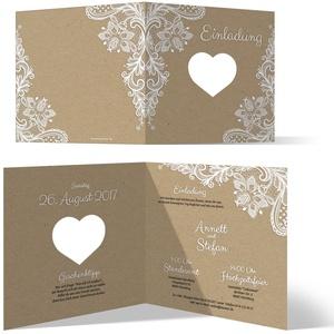 Lasergeschnittene Hochzeit Einladungskarten (50 Stück) - Rustikal Kraftpapier - Hochzeitskarten