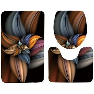 Set 3tlg Badematten, Asnlove Rechteck Badvorleger 75 x 45 CM Badteppich Badgarnitur Matte Badvorleger WC-Deckelbezug Toilettendeckel Set 3tlg Bathroom Rug Mat Weich Duschmatte mit Kunst skizzieren