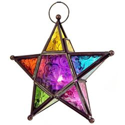 Guru-Shop Windlicht Orientalische Glas Stern in marrokanischem.. bunt