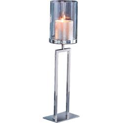 Kerzenhalter New York, Bodenwindlicht aus Stahl und Glas 12 cm x 45 cm x 10,5 cm