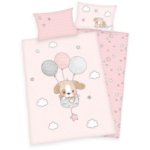 Babybettwäsche Kleiner Hund - Baby-Bettwäsche-Set von Herding in Flanell, 100x135 & 40x60 cm, Baby Best, 100% Baumwolle
