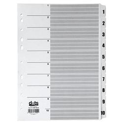 dots Ordnerregister Mylar DIN A4 Vollformat 1-10 weiß 10-teilig