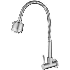 HomeLava Küchenarmatur Kaltwasserhahn Wandmontage Einhand Kaltwasser Wandarmatur Edelstahl Auslauf Schwenkbar