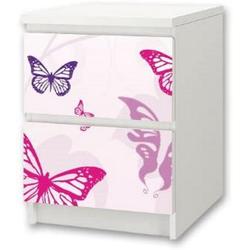 STIKKIPIX Möbelfolie NS01, Butterfly Möbelsticker/Aufkleber für Kinderzimmer Kommode/Nachttisch MALM von IKEA - NS01 - Möbel Nicht Inklusive