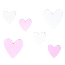 6 Holz Herzen aus Echtholz Dekoherzen Holzdeko für Hochzeit JGA Valentinstag rosa weiß