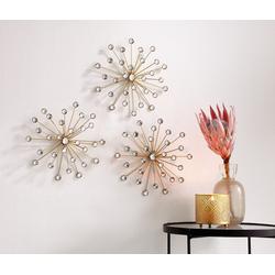 Home-trends24.de Dekoobjekt Kristallblüte 3er Set Gold Wand-Deko Wandschmuck Wandbild Bild Metall Glassteine (3 Stück)
