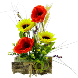 Kunstpflanze Sonnenblume/Mohn, I.GE.A., Höhe 30 cm