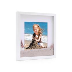 PHOTOLINI Bilderrahmen 3D-Bilderrahmen Objektrahmen Weiss mit Passepartout 40 cm x 40 cm