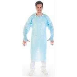 HYGOSTAR® CPE-Schutzkittel mit Daumenloch - stark, Kittel ideal für OP und Labor, 1 Karton = 100 Stück, 115 x 100 cm, Farbe: blau