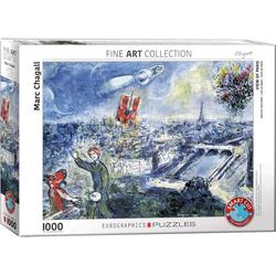 empireposter Puzzle Marc Chagall - Ansicht von Paris - 1000 Teile Puzzle im Format 68x48 cm, Puzzleteile