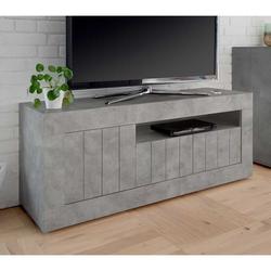 Design TV Lowboard in Beton Grau 3-türig