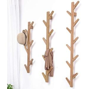 FEFCK Garderobe Wandmontage Kleiderständer Haken Massivholz Baum Shaped Wohnzimmer Schlafzimmer Dekoration, Hängende Art Wood Color 78x22x7cm