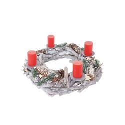 MCW Adventskranz T869, Ø 48 cm, Mit 4 Kerzenhaltern, Aufwendig geschmückt weiß