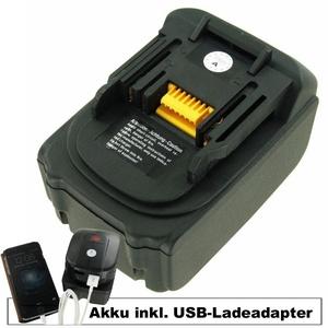 Akku und USB-Ladeadapter passend für Makita BL-1830, BL-1850 Akku 18Volt 5,0Ah inklusive USB-Adapter