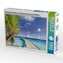 Paradiesischer Steg führt ins türkisfarbenen Meer der Insel Mudhdhoo Lege-Größe 64 x 48 cm Foto-Puzzle Puzzle